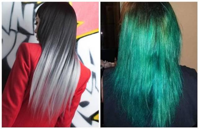 Klientka chciała mieć siwe ombre, a ma... zielone włosy.
