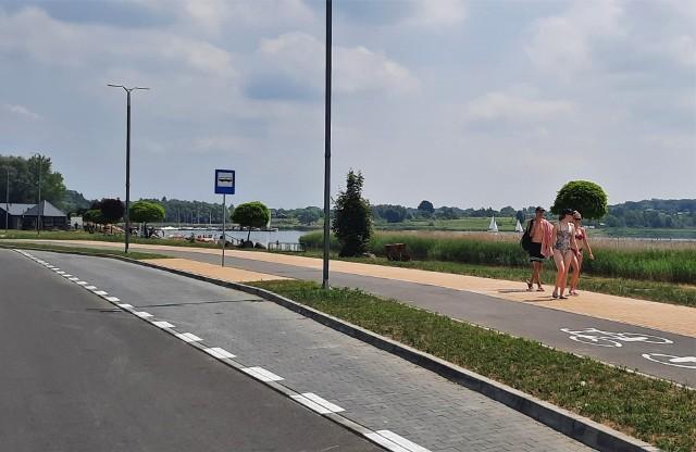 Przystanek przy ulicy Żeglarskiej, jeden z czterech nad Jeziorem Tarnobrzeskim.