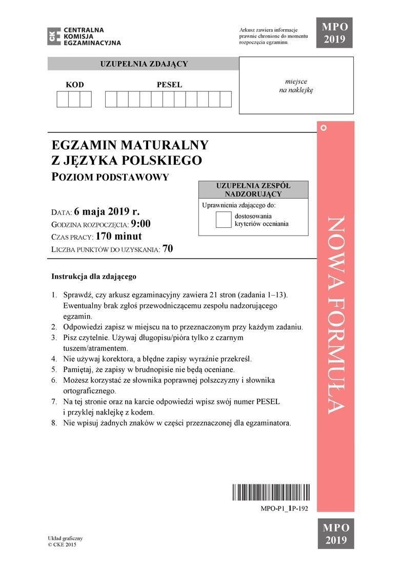 Matura JĘZYK POLSKI [ARKUSZE CKE, ODPOWIEDZI]. Co było na egzaminie maturalnym z polskiego? Arkusze, odpowiedzi, tematy, rozwiązania 06.05