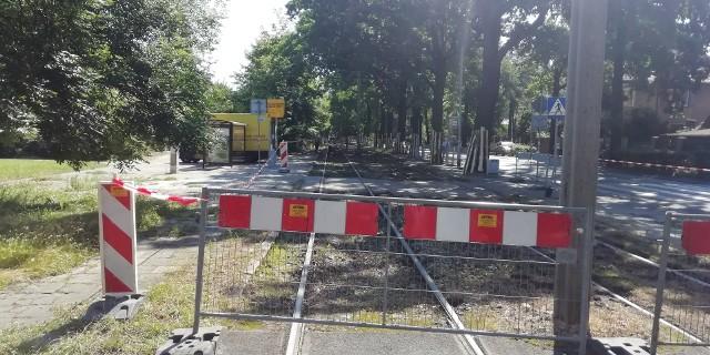 Przebudowa torowiska tramwajowego MPK na Biskupinie we Wrocławiu.