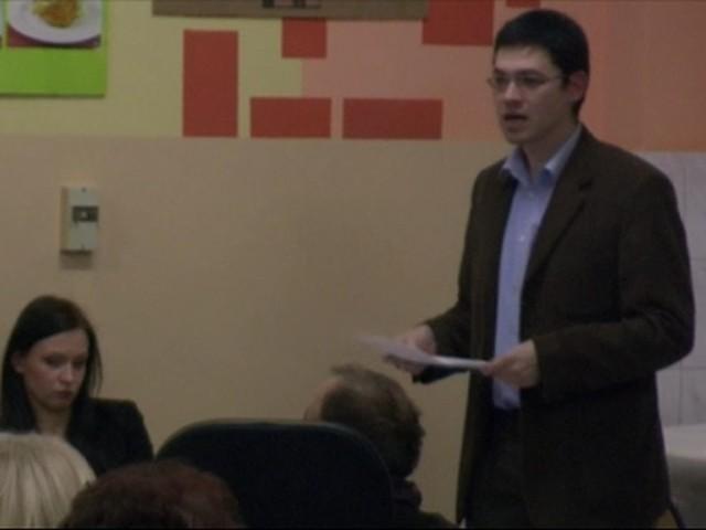 Hubert Stys, przewodniczący rady okręgu i rzekoma ofiara napaści Adama Olendra podczas listopadowej sesji rady.