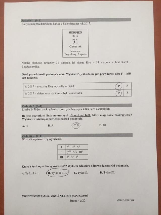 Egzamin ósmoklasisty 2019 MATEMATYKA Odpowiedzi