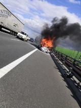 Pożar samochodu na Obwodnicy Południowej Gdańska 14.08.2019. Samochód zapalił się przed zjazdem na węzeł Lipce. Utworzyły się korki