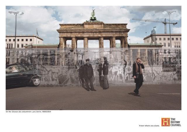 Berlin, ulica 17 Czerwca: 1989/2004 Ulica 17 Czerwca jest częścią berlińskiej osi wschód-zachód. Ulica rozpoczyna się przy położonym z tyłu Bramy Brandenburskiej placu Platz des 18. März. W tym miejscu w latach 1961-1989 znajdował się Mur Berliński, rozgraniczający strefę alianckich i radzieckich wpływów: Berlin Zachodni od Berlina Wschodniego i NRD.Do 1989 roku na Straße des 17. Juni odbywały się defilady wojsk zachodnich państw alianckich.strona autora