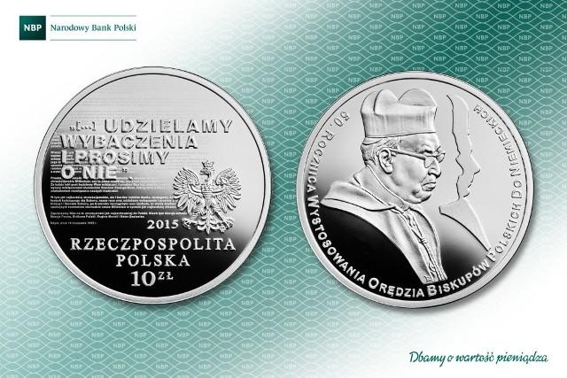 """Moneta """"50. rocznica wystosowania orędzia biskupów polskich do niemieckich""""Moneta została wyemitowana w nakładzie do 25 tys. sztuk. Cena emisyjna wynosi 100 zł"""