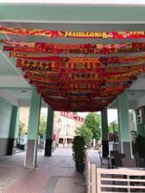 Stulecie Jagiellonii Białystok. Żółto-czerwone szaliki ozdobiły alejkę w centrum miasta [ZDJĘCIA]