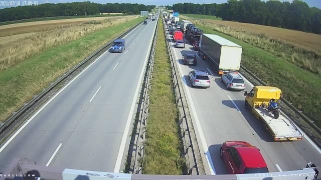 Korek na autostradzie A4, 16.07.2021