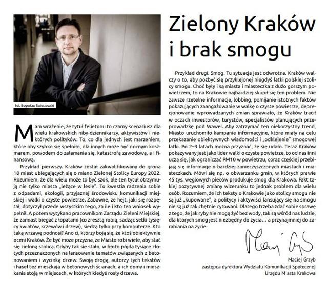 Artykuł dyrektora Macieja Grzyba w dwutygodniku Kraków.pl