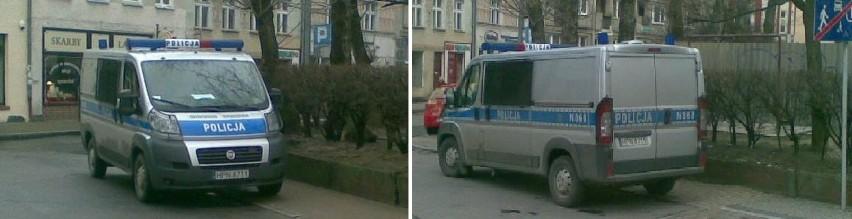 Samochód policji stojący w niedozwolonym miejscu, 10 marca. Ten sam radiowóz zaparkowany w tym samym miejscu, 25 marca.