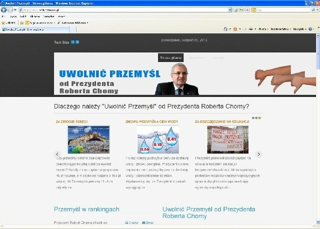 """Przeciwnicy prezydenta Przemyśla założyli stronę w Internecie, w której wymieniają argumenty przemawiające za jego odwołaniem. Prezydent określa witrynę """"przygotowaniem gruntu pod kampanię wyborczą""""."""