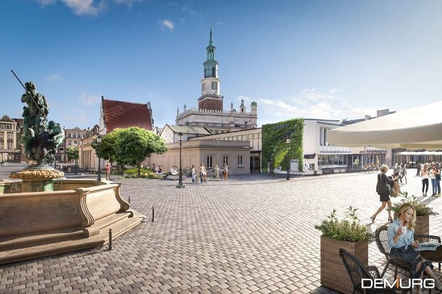Tak ma wyglądać Stary Rynek w Poznaniu po przebudowie. Prace rewaloryzacyjne mają zakończyć się wiosną 2023 roku. Przejdź dalej i zobacz kolejne wizualizacje --->