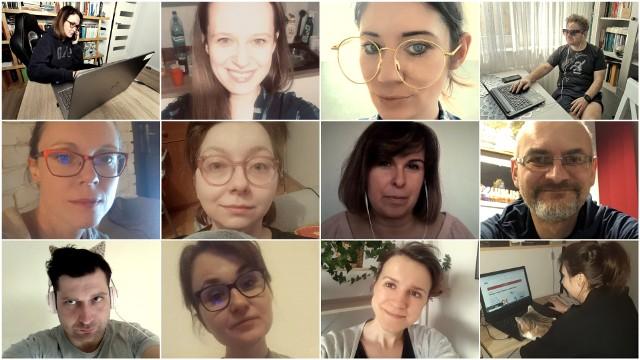 Redakcja Kuriera Lubelskiego pracująca zdalnie. Od góry: Sylwia, Patrycja, Emilia, Łukasz, Ola, Gracja, Gabriela, Darek, Sławek, Marta, Ewa i Edyta