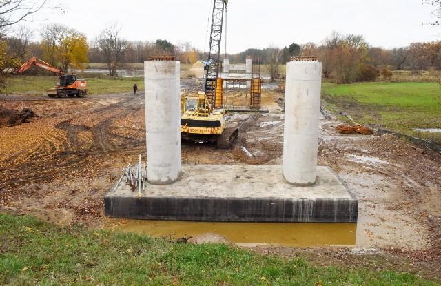 Teren budowy mostu w Milsku