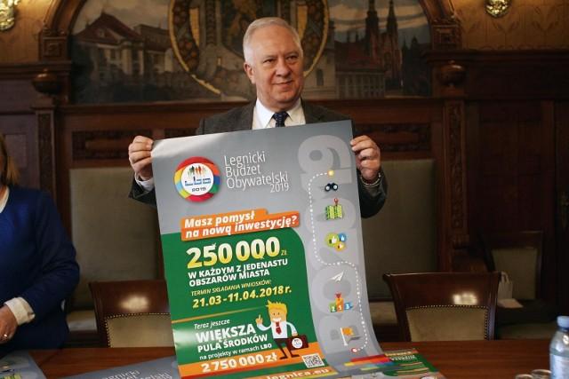 Legnica w 2018 roku przeznaczyła na projekty budżetu obywatelskiego blisko 3 miliony złotych, po 250 tys. na każdy obszar miasta, tak by rozwijało się ono proporcjonalnie