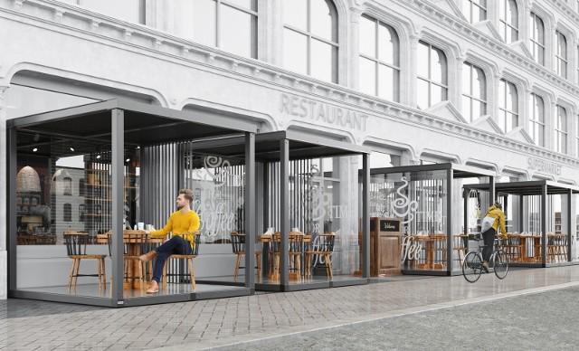 Konstrukcyjne rozwiązania dla restauracji w dobie pandemii. Izolowane boksy ze szkła i stali zabezpieczają gości.