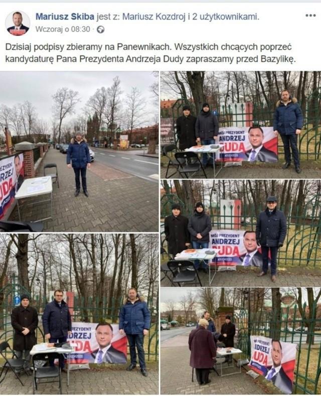 Zbiórka podpisów poparcia dla Andrzeja Dudy, którą sympatycy PiS, w tym wiceprezydent Mariusz Skiba, zorganizowali w niedzielę w Panewnikach. Zdjęcia z akcji wiceprezydent Skiba zamieścił na swoim Facebooku.