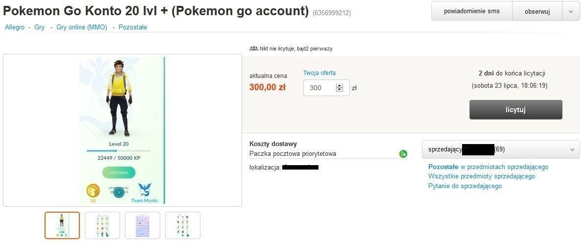 02fe47a760185 Konto na Pokemon Go na sprzedaż. Kupisz je za 400 zł  Trwa szaleństwo  związane z Pokemonami