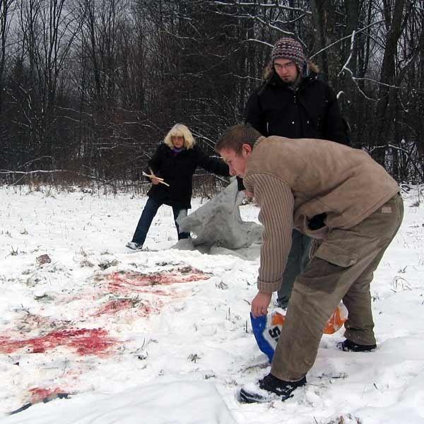Kazimiera Furs, jej syn Andrzej i Mateusz Olejko pokazują miejsce, w którym wilk pożarł psa sąsiadów. Dzień wcześniej zabezpieczyli je specjalnie, by pokazać dziennikarzom.