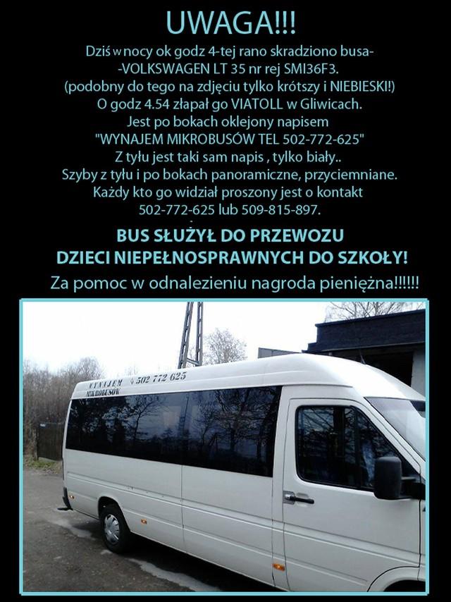 Apel do złodziaj o zwrot busa do przewozu niepełnosprawnych dzieci
