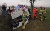 Wypadek busa na DK  11 pod Kluczborkiem. Przewoził osoby niepełnosprawne