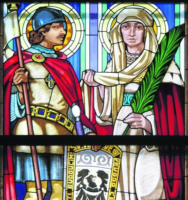Święty Wacław i jego babka, święta Ludmiła, w kościele św. św. Cyryla i Metodego w czeskim Ołomuńcu
