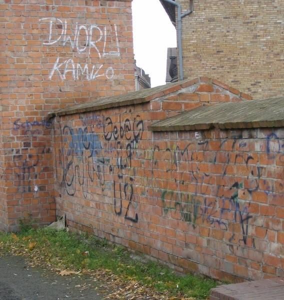 Tego, co pojawiło się na murach obronnych nawet nie można nazwać graffiti, to zwykłe bazgroły.