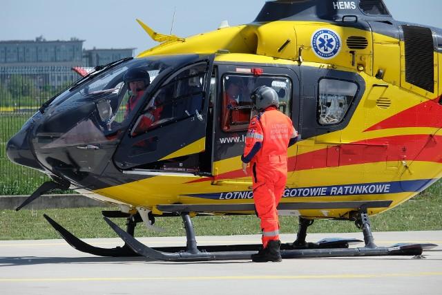 Śmigłowiec LPR w powiecie wąbrzeskim w sobotę (17 kwietnia 2021 r.) wzywany był aż do dwóch wypadków - jednego w miejscowości Książki i drugiego w miejscowości Cymbark