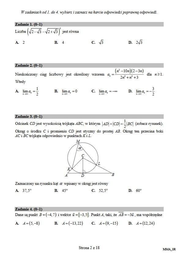 matura rozszerzona z matematyki 2010 odpowiedzi