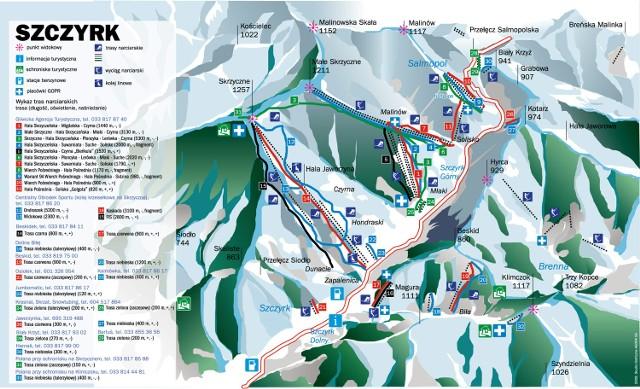 Mapa wyciągów w Szczyrku