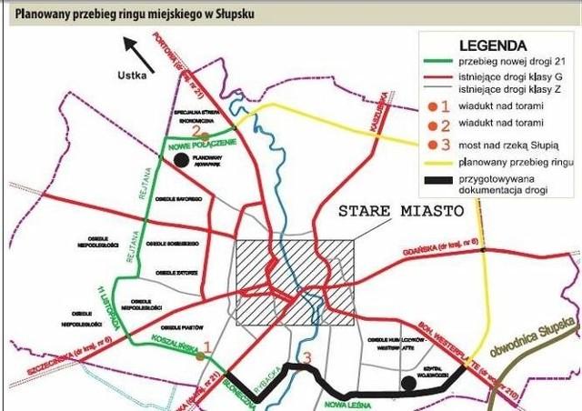 Planowany przebieg ringu miejskiego w Słupsku.