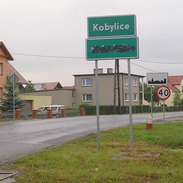 Zamalowana tablica we wsi Kobylice. Po Radłowie (pow. oleski) to już kolejny taki przypadek na Opolszczyźnie