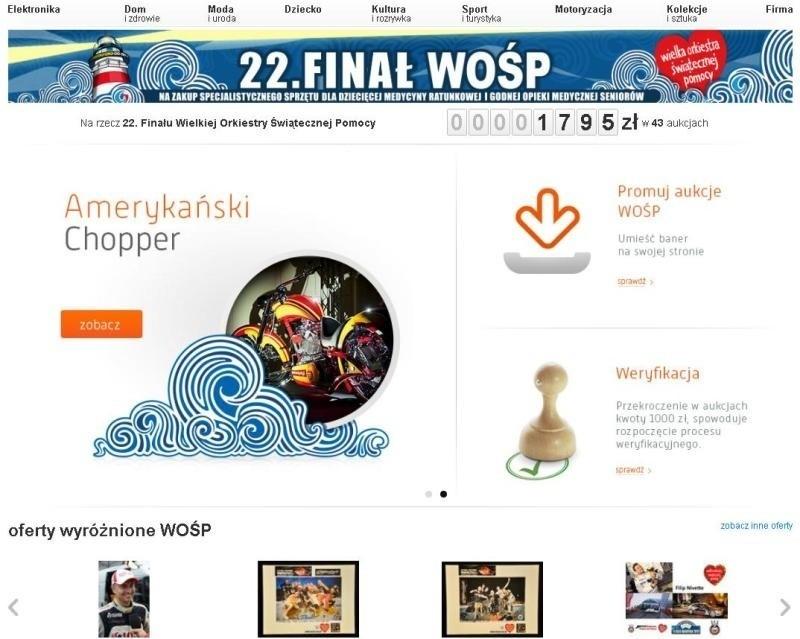 Internetowy 22. Finał WOŚP rozpoczał się na aukcje.wosp.org.pl