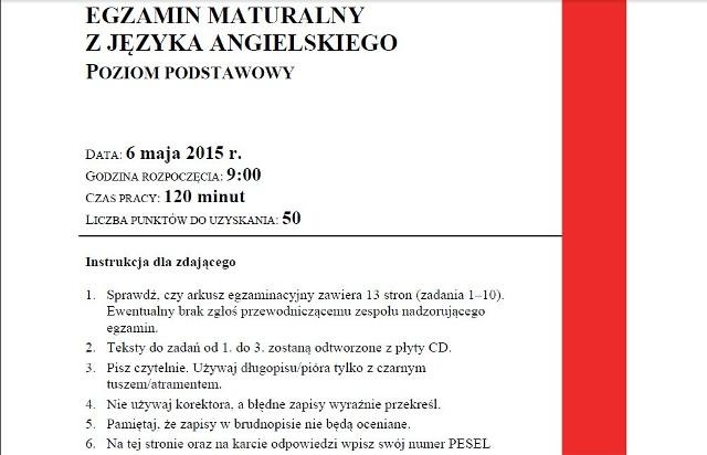 MATURA 2015 ARKUSZE PDF - POZIOM PODSTAWOWY - JĘZYK ANGIELSKI - STARA MATURA + NOWA MATURA (TECHNIKUM I LICEUM) - WERSJA A + WERSJA C - TRANSKRYPCJA NAGRAŃ
