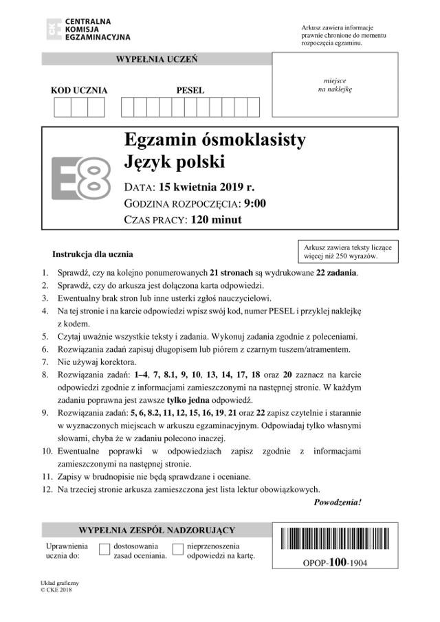 Arkusze CKE z zeszłego roku z języka polskiego