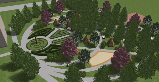 Wizualizacja wioski indiańskiej w Zagórzu przy ul. Kieleckiej. Zobacz kolejne zdjęcia. Przesuń w prawo - wciśnij strzałkę lub przycisk NASTĘPNE