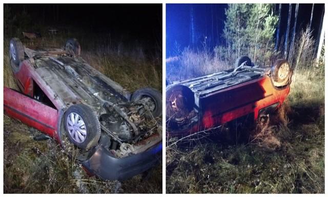 Kierowca uciekł po dachowaniu na drodze Pomigacze - Lubejki
