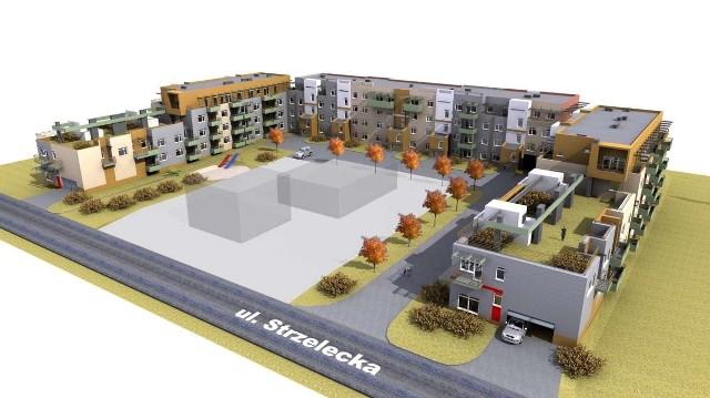 Bloki przy ul. Strzeleckiej 59-67Bloki przy ul. Strzeleckiej 59-67. Jeden zostanie oddany do użytku jeszcze w tym roku, drugi - w III kwartale 2013 roku
