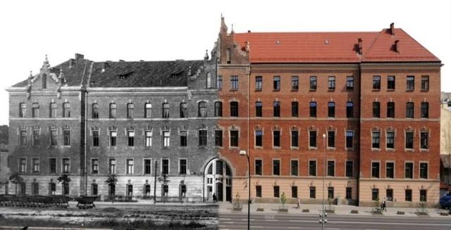 Collegium Godlewskiego przed i po rozbudowie w latach 60. XX wieku
