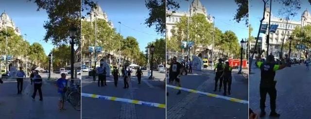 – Byłem akurat w sklepie, kiedy wbiegło do niego kilka przerażonych osób – relacjonuje Tomasz Wróblewski, dziennikarz NTO, który jest w Barcelonie. – To od nich dowiedziałem się, co się stało. Wkrótce na ulicy pojawiły się policyjne radiowozy i karetki. Po jakimś czasie ochroniarz sklepu powiedział nam, że możemy już wyjść – dodaje. Fot. Tomasz Wróblewski