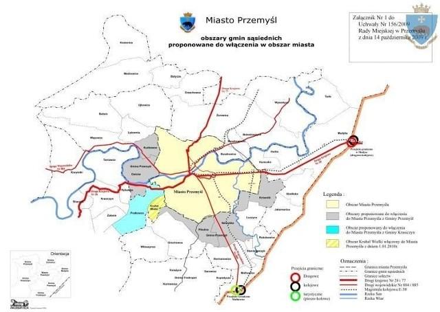 W tym roku władze Przemyśla planują złożyć wniosek o powiększenie miasta o pięć sołectw z gminy wiejskiej Przemyśl i jedno z gminy Krasiczyn.