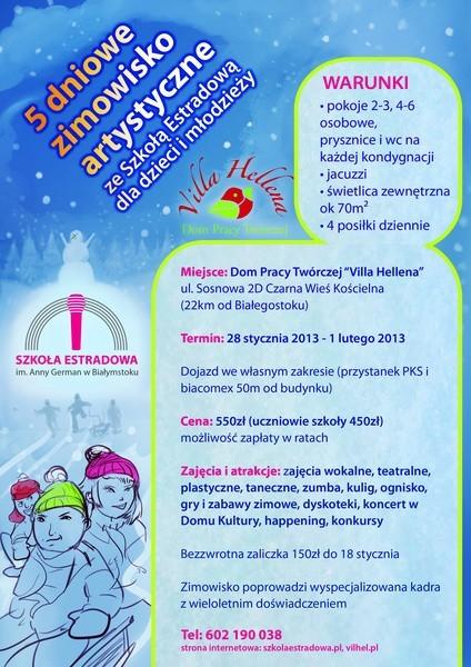 Plakat promujący zimowisko