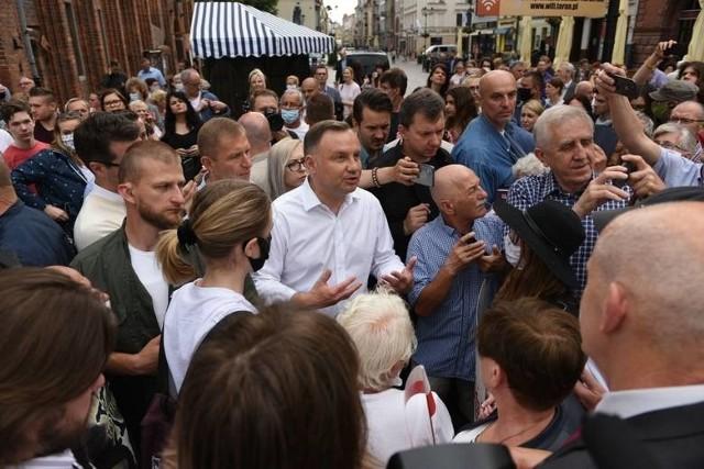 Prezydent Andrzej Duda na spotkaniu w Toruniu.