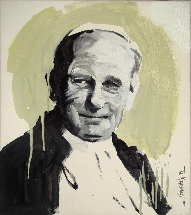 """The Krasnals """"Święty Jan Paweł II"""". 27.04.2014. Olej na płótnie. 45x40cm"""