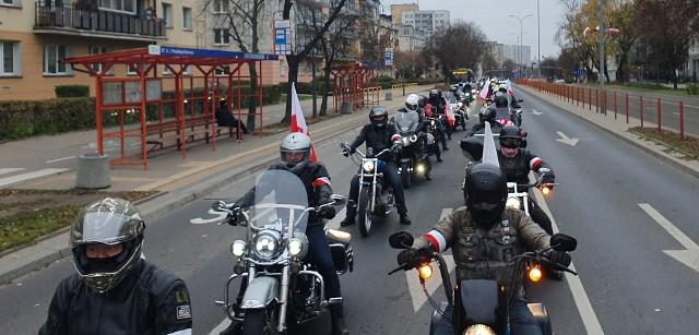 Parada motocyklowa w Białymstoku z okazji Święta Niepodległości
