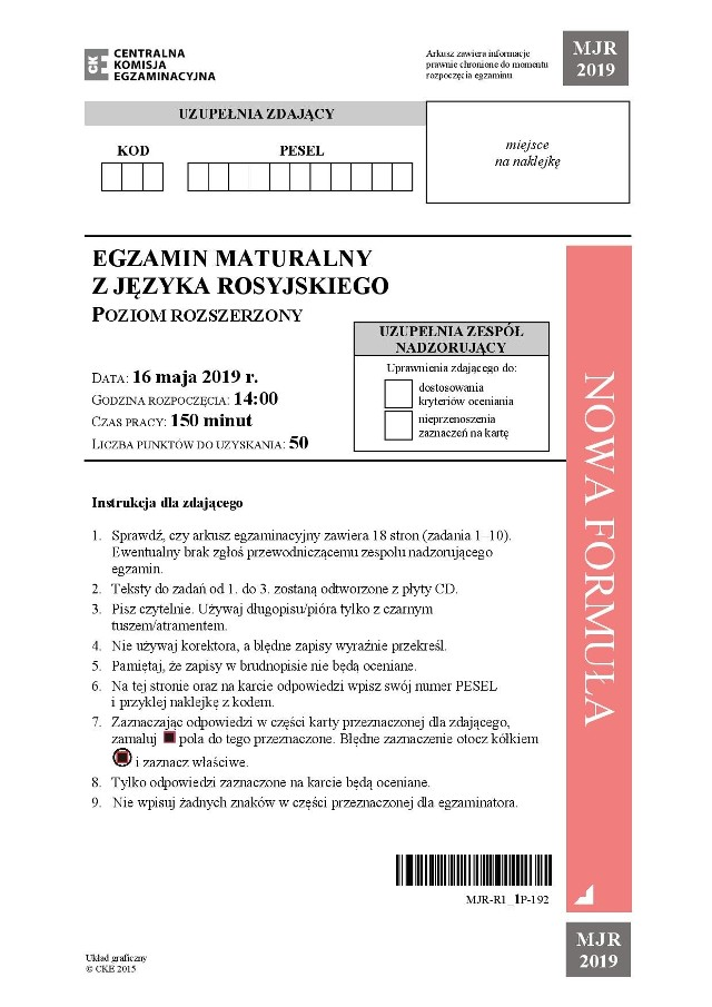 Język rosyjski ROZSZERZENIE: Zobacz odpowiedzi i arkusze CKE na kolejnej stronie --->