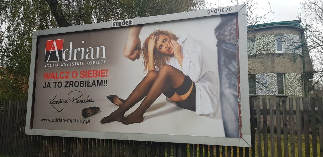 Billboard reklamujący firmę Adrian z Karoliną Piasecką na ulicach Katowic