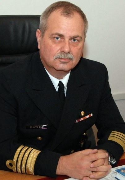 Kontradmirał Krzysztof Teryfter z okresu służby w Świnoujściu.