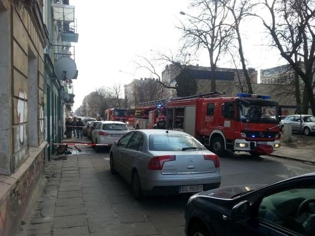 Pożar w kamienicy przy ul. Targowej w Łodzi