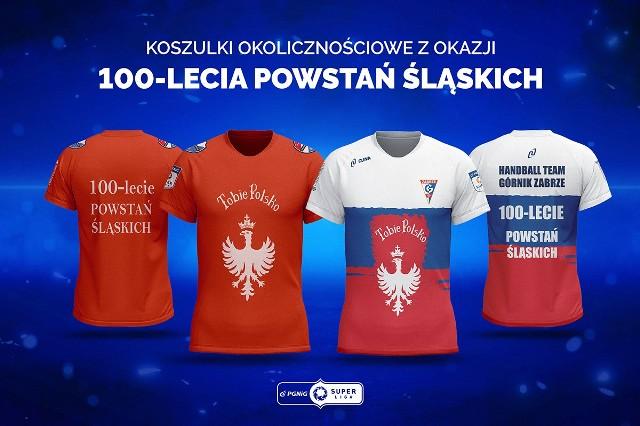 W takich pamiątkowych koszulach wystąpią dziś na rozgrzewce i prezentacji piłkarze ręczni Gwardii Opole i Górnika Zabrze