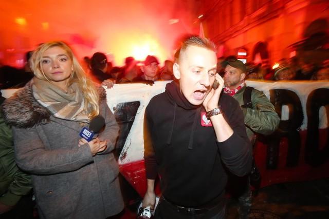 11.11.2018 wroclawmanifestacja marsz polski niepodeglej zorganizowany przez srodowiska narodowe i kibicow slaska wroclaw przeszla ulicami wroclawian/z jacek miedlar11 listopada swieto niepodleglosci narodowcy nacjonalizm marsz pochodgazeta wroclawskapawel relikowski / polska press